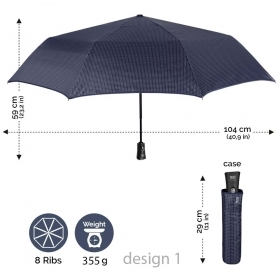 Men's automatic Open-Close umbrella Perletti 21667 Technology