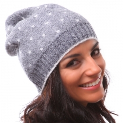 топла мека падаща назад шапка на точки